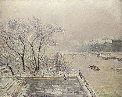 Painting - The Louvre Under Snow by Camille Pissarro