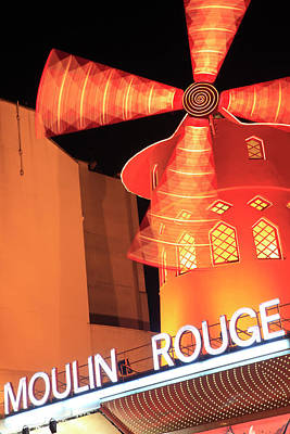 Photograph - The Night View Of Moulin Rouge Cabaret by Bruce Yuanyue Bi