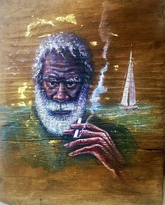 Painting - The Old Fisherman by Katerina Kovatcheva