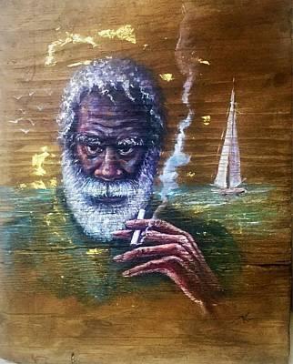 Painting - The Old Fisherman by Katerina Kovatcheva