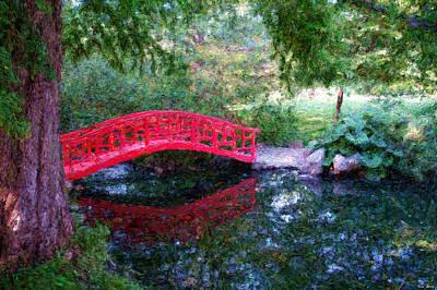 Digital Art - The Red Bridge by Rein Nomm