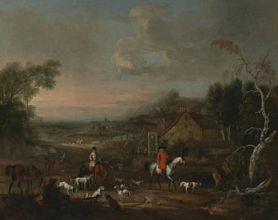Painting - The Reverend Jemmet Browne At A Meet Of Foxhounds by Peter Tillemans