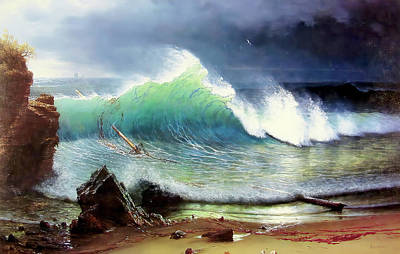Photograph - The Shore Of The Turquoise Sea by Albert Bierstadt