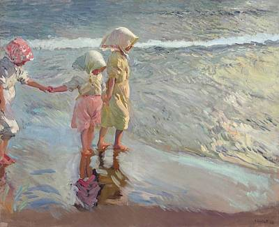 Little Girl On Beach Wall Art - Painting - The Three Sisters On The Beach by Joaquin Sorolla