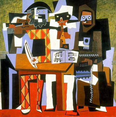Musicians Royalty Free Images - Three Musicians Royalty-Free Image by Pablo Picasso