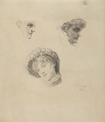Drawing - Three Studies Of Heads Of Women by Max Klinger