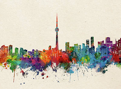 Abstract Skyline Royalty-Free and Rights-Managed Images - Toronto Skyline Watercolor by Bekim M