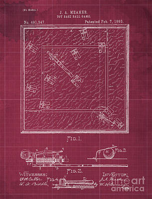 Royalty-Free and Rights-Managed Images - Toy Base Ball Game Patent Year 1893 Old Artwork Office Decoration by Drawspots Illustrations