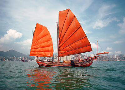 Chinese Junk Wall Art - Photograph - Traditional Junk Boat Under Full Sail by Harald Sund