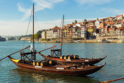 Porto Wall Art - Photograph - Traditional Rabelos Boats On River by Larry Bray