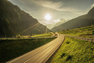 Traffic On A Mountain Road Art Print by Buena Vista Images