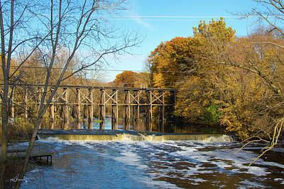 Photograph - Trestle Hamilton  Michigan During Autumn 2 by Ken Figurski