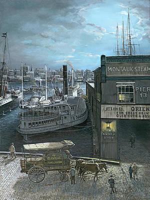 Twilight At Old Pier 13 New York East River 1905 Original