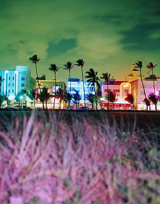 Us State Photograph - Usa, Florida, Miami, Ocean Drive, Night by Jerry Driendl