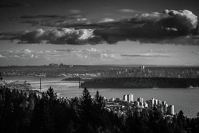 Photograph - Vancouver Skyline In Black And White by Monte Arnold