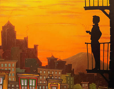 Wall Art - Painting - Sunrise At Van Gogh Coffeehouse - Right by Bryan Ubaghs