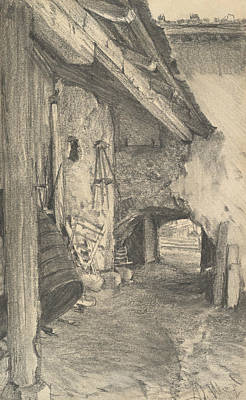 Drawing - View Into A Courtyard by Adolph Menzel