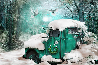 Photograph - Vintage Christmastime In Turquoise Tones by Debra and Dave Vanderlaan