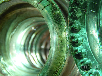 Photograph - Vintage Green Glass Insulators by Phil Perkins