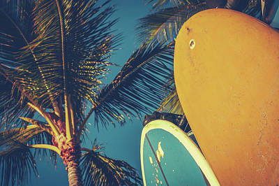 Recently Sold - Sports Royalty-Free and Rights-Managed Images - Vintage Surfboards And Palms by Mr Doomits