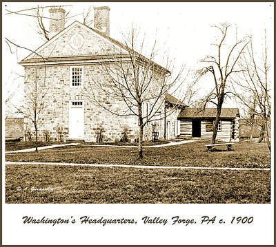 Photograph - Washington's Headquarters, Valley Forge, 1900 by A Gurmankin