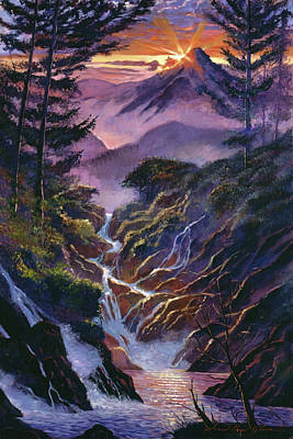 Painting - Waterfall Serenade by David Lloyd Glover