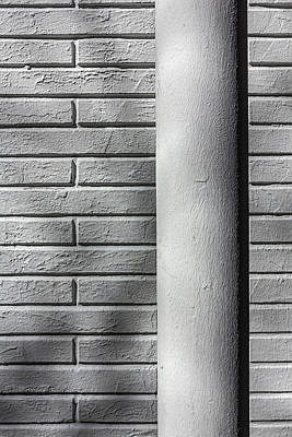 Photograph - White Pipe And White Brick Wall by Robert Ullmann