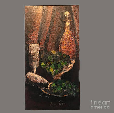 Painting - Wine Decanter With Grapes by Michael Silbaugh aka de la Silva