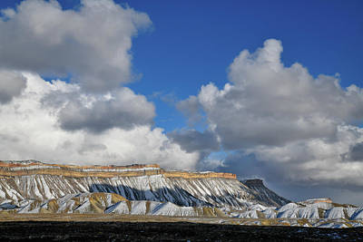 Photograph - Winter Clouds Over Snow Covered Book Cliffs by Ray Mathis