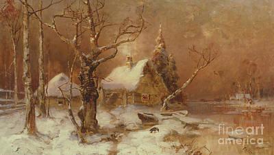 Winter Cabin Painting - Winter Landscape by Julius Sergius Klever