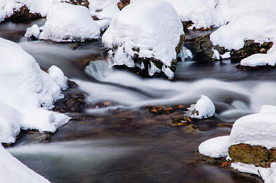 Photograph - Winter Stream With Snowy Islands 2 by Jenny Rainbow