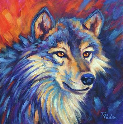 Wall Art - Painting - Wolf Gaze by Theresa Paden