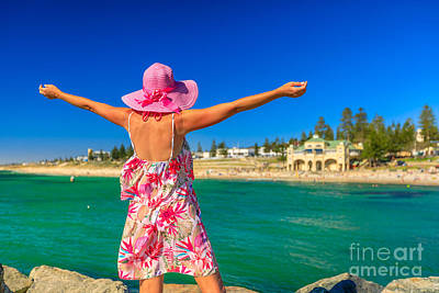 Photograph - Woman At Cottesloe Beach by Benny Marty