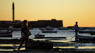 Photograph - Woman At Sunset La Caleta Beach Cadiz Spain by Pablo Avanzini