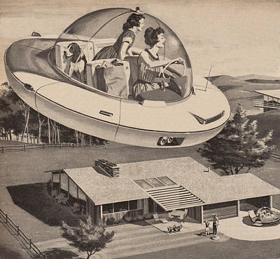 Digital Art - Woman Driving Flying Saucer by Graphicaartis