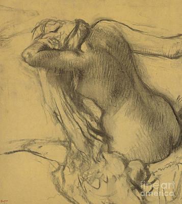 Pastel - Woman Drying Her Hair by Edgar Degas