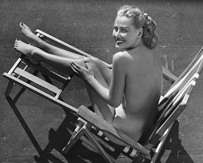 Woman In Beach Chair Art Print by George Marks
