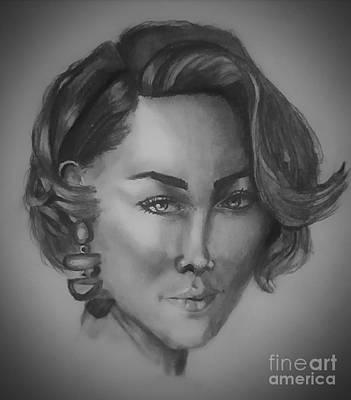 Wall Art - Drawing - Woman Portrait by Eman Elmahdy