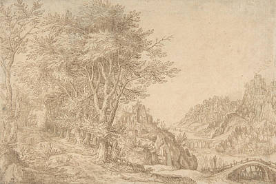 Drawing - Wooded Landscape With A River, Castle, And Town Beyond by Denis van Alsloot