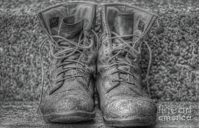 Digital Art - Work Boots Black And White by Randy Steele