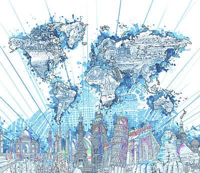 London Skyline Digital Art - World Map Landmarks 7 by Bekim Art