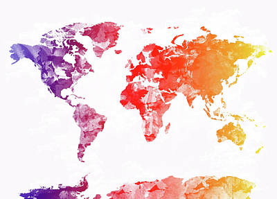 Travel Pics Royalty-Free and Rights-Managed Images - World Map Watercolor 8 by Bekim M