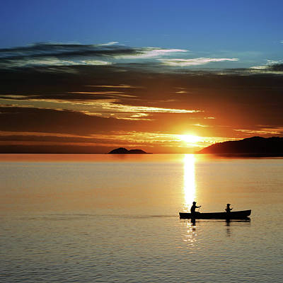 Recreational Boat Photograph - Xl Canoe Sunset by Sharply done