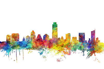 Austin Wall Art - Digital Art - Austin Texas Skyline by Michael Tompsett