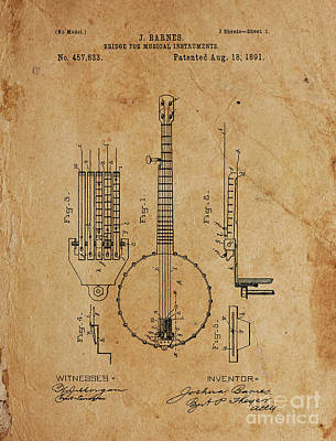 Musicians Drawings Rights Managed Images - BRIDGE FOR MUSICAL INSTRUMENTS Patent Year 1891 Royalty-Free Image by Drawspots Illustrations