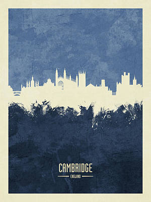 Digital Art - Cambridge England Skyline by Michael Tompsett
