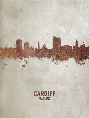 Digital Art - Cardiff Wales Skyline by Michael Tompsett