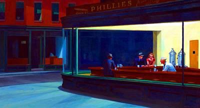 Night Hawk Wall Art - Painting - Nighthawks by Edward Hopper