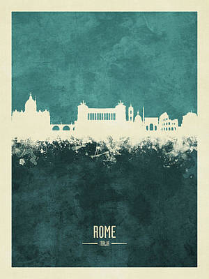 Digital Art - Rome Italy Skyline by Michael Tompsett