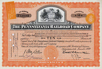 Photograph - 10 Shares Of Pennsylvania Railroad Stock - Large by Paul W Faust - Impressions of Light